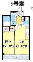 つくばエクスプレス 柏たなか駅 徒歩4分の賃貸マンション 2階1DKの間取り