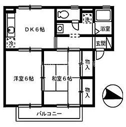 岡山県倉敷市児島下の町4丁目の賃貸アパートの間取り