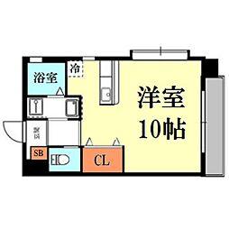 熊本県熊本市中央区大江2丁目の賃貸マンションの間取り