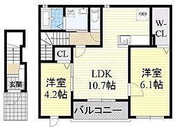 Osaka Metro御堂筋線 新金岡駅 徒歩16分の賃貸アパート 2階2LDKの間取り