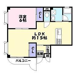 寿ハイツ[3階]の間取り