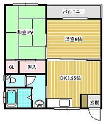 大西マンション[2C号室]の間取り