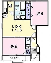 ラモルナ・ガーデン[1階]の間取り