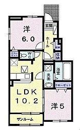 JR福塩線 神辺駅 徒歩10分の賃貸アパート 1階2LDKの間取り