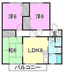 スプリングスヒル中央[B202号室]の間取り