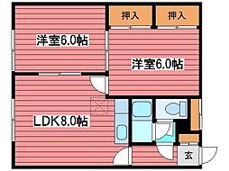 米子アパート[2階]の間取り
