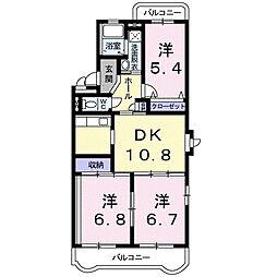 静岡県袋井市堀越3丁目の賃貸マンションの間取り