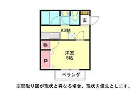 愛知県江南市古知野町小金の賃貸アパートの間取り