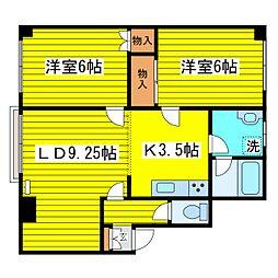 北海道札幌市東区本町二条5丁目の賃貸マンションの間取り