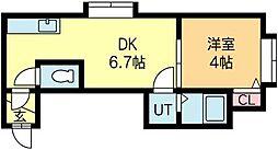 北海道札幌市中央区南五条西16丁目の賃貸アパートの間取り
