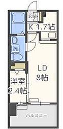 福岡市地下鉄空港線 赤坂駅 徒歩9分の賃貸マンション 3階1LDKの間取り
