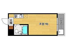 カプチーノ太秦[402号室]の間取り