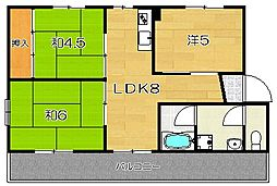 大阪府茨木市鮎川4丁目の賃貸アパートの間取り