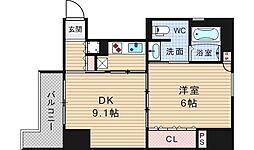 リーガル北堀江[4階]の間取り