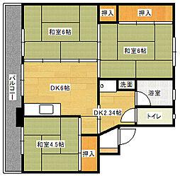 ビレッジハウス伊川 2号棟[107号室]の間取り
