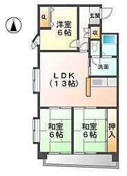 愛知県一宮市多加木3丁目の賃貸マンションの間取り