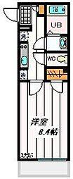 JR京浜東北・根岸線 さいたま新都心駅 徒歩12分の賃貸マンション 2階1Kの間取り