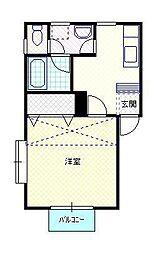 新潟県新発田市城北町3丁目の賃貸アパートの間取り