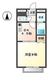 愛知県あま市下萱津の賃貸アパートの間取り