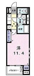 横浜市営地下鉄ブルーライン 湘南台駅 徒歩6分の賃貸マンション 1階1Kの間取り