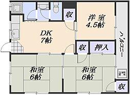 川本マンション(長束)[3階]の間取り