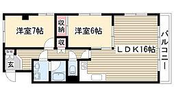 愛知県名古屋市名東区牧の原1丁目の賃貸マンションの間取り