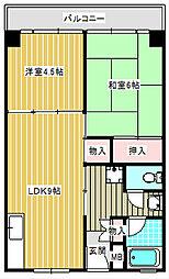 UR南港前団地[3-1205号室]の間取り