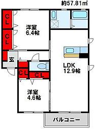 三洋タウン水巻伊左座 D棟[1階]の間取り