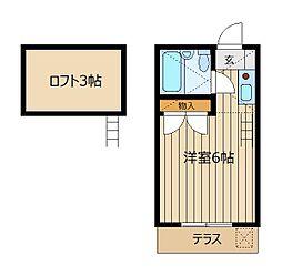 埼玉県ふじみ野市鶴ケ舞2丁目の賃貸アパートの間取り