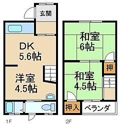 [テラスハウス] 大阪府寝屋川市日新町 の賃貸【/】の間取り