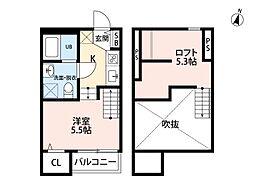 アパートメント友丘[201号室]の間取り