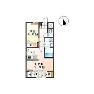 間取り,1LDK,面積40.5m2,賃料5.4万円,つくばエクスプレス つくば駅 3.6km,つくばエクスプレス 研究学園駅 6.8km,茨城県つくば市古来