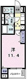 横浜市営地下鉄ブルーライン 湘南台駅 徒歩6分の賃貸アパート 1階1Kの間取り