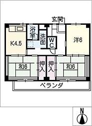 ビレッジハウス津 1号棟[2階]の間取り