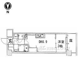 京都市営烏丸線 九条駅 徒歩6分の賃貸マンション 1階1DKの間取り