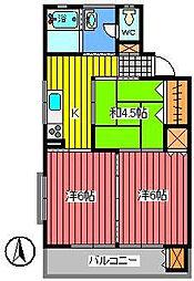 埼玉県さいたま市浦和区常盤5丁目の賃貸マンションの間取り