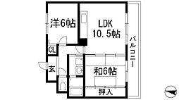 兵庫県宝塚市中筋山手3丁目の賃貸マンションの間取り