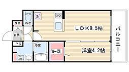 京都府京都市上京区尼ケ崎横町の賃貸マンションの間取り