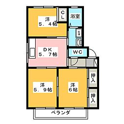 リヴェール緑 D棟[2階]の間取り