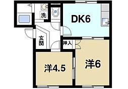 くるみハイツ[1階]の間取り