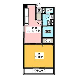 宇都宮グリーンハイツ2号棟[4階]の間取り