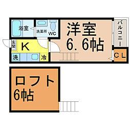 愛知県名古屋市守山区川西1丁目の賃貸アパートの間取り