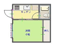 林コーポ1階Fの間取り画像