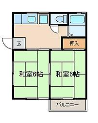 第2ハイツ田村[202号室]の間取り