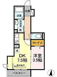 仮)D-room宿河原 2階1LDKの間取り