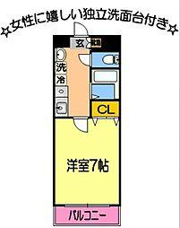 メゾンド・ユートピア4番館 2階1Kの間取り