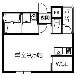 京阪本線 滝井駅 徒歩4分の賃貸アパート 1階ワンルームの間取り