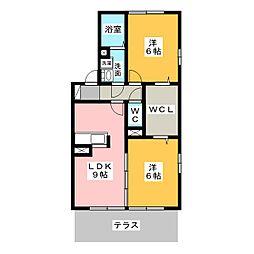 グレースハイム六の坪[1階]の間取り
