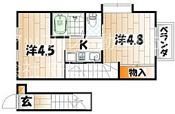 福岡県北九州市小倉南区津田4丁目の賃貸アパートの間取り