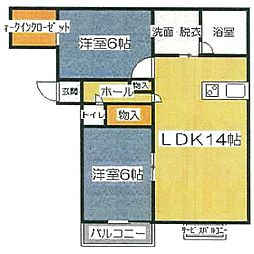 K&M濱田[302号室]の間取り